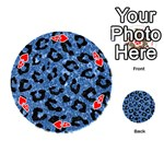 SKIN5 BLACK MARBLE & BLUE MARBLE Playing Cards 54 (Round) Front - Heart4