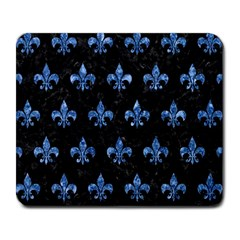 Royal1 Black Marble & Blue Marble (r) Large Mousepad by trendistuff