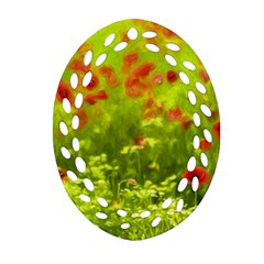 Poppy I Ornament (oval Filigree)  by colorfulartwork