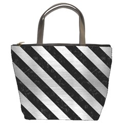 Stripes3 Black Marble & Silver Brushed Metal (r) Bucket Bag by trendistuff