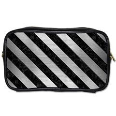 Stripes3 Black Marble & Silver Brushed Metal (r) Toiletries Bag (two Sides) by trendistuff
