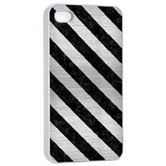 Stripes3 Black Marble & Silver Brushed Metal (r) Apple Iphone 4/4s Seamless Case (white) by trendistuff
