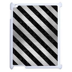 Stripes3 Black Marble & Silver Brushed Metal (r) Apple Ipad 2 Case (white) by trendistuff