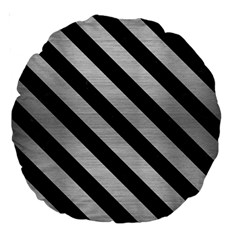 Stripes3 Black Marble & Silver Brushed Metal (r) Large 18  Premium Round Cushion  by trendistuff