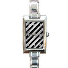 Stripes3 Black Marble & Silver Brushed Metal Rectangle Italian Charm Watch by trendistuff