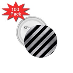 Stripes3 Black Marble & Silver Brushed Metal 1 75  Button (100 Pack)  by trendistuff