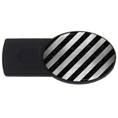 Stripes3 Black Marble & Silver Brushed Metal Usb Flash Drive Oval (4 Gb) by trendistuff