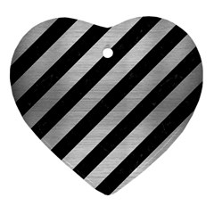 Stripes3 Black Marble & Silver Brushed Metal Heart Ornament (two Sides) by trendistuff