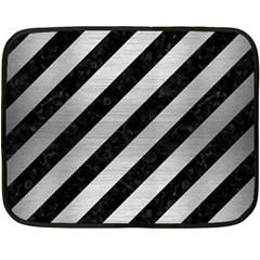 Stripes3 Black Marble & Silver Brushed Metal Double Sided Fleece Blanket (mini) by trendistuff