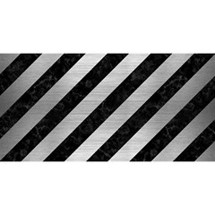 Stripes3 Black Marble & Silver Brushed Metal You Are Invited 3d Greeting Card (8x4)