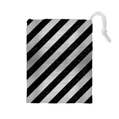Stripes3 Black Marble & Silver Brushed Metal Drawstring Pouch (large)