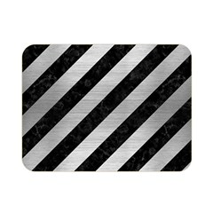 Stripes3 Black Marble & Silver Brushed Metal Double Sided Flano Blanket (mini)