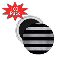 Stripes2 Black Marble & Silver Brushed Metal 1 75  Magnet (100 Pack)  by trendistuff