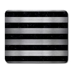 Stripes2 Black Marble & Silver Brushed Metal Large Mousepad by trendistuff
