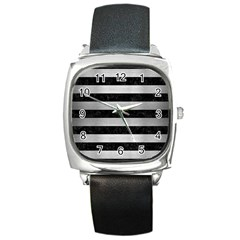 Stripes2 Black Marble & Silver Brushed Metal Square Metal Watch by trendistuff