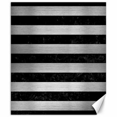 Stripes2 Black Marble & Silver Brushed Metal Canvas 20  X 24  by trendistuff