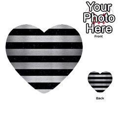 Stripes2 Black Marble & Silver Brushed Metal Multi Purpose Cards (heart)