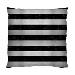 Stripes2 Black Marble & Silver Brushed Metal Standard Cushion Case (two Sides) by trendistuff