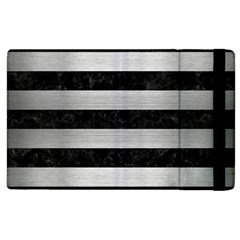 Stripes2 Black Marble & Silver Brushed Metal Apple Ipad 2 Flip Case by trendistuff