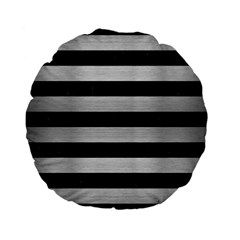 Stripes2 Black Marble & Silver Brushed Metal Standard 15  Premium Flano Round Cushion  by trendistuff