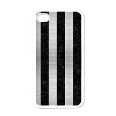 Stripes1 Black Marble & Silver Brushed Metal Apple Iphone 4 Case (white)