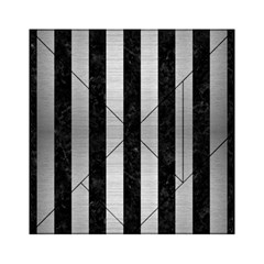 Stripes1 Black Marble & Silver Brushed Metal Acrylic Tangram Puzzle (6  X 6 ) by trendistuff