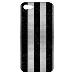 Stripes1 Black Marble & Silver Brushed Metal Apple Iphone 5 Hardshell Case by trendistuff