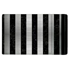 Stripes1 Black Marble & Silver Brushed Metal Apple Ipad 2 Flip Case by trendistuff