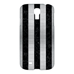 Stripes1 Black Marble & Silver Brushed Metal Samsung Galaxy S4 I9500/i9505 Hardshell Case by trendistuff