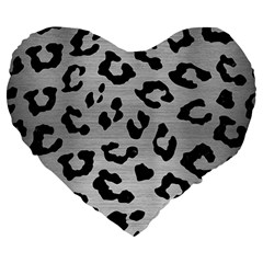 Skin5 Black Marble & Silver Brushed Metal Large 19  Premium Heart Shape Cushion by trendistuff