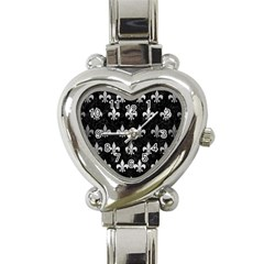 Royal1 Black Marble & Silver Brushed Metal (r) Heart Italian Charm Watch by trendistuff