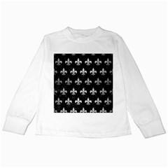 Royal1 Black Marble & Silver Brushed Metal (r) Kids Long Sleeve T Shirt by trendistuff