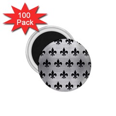 Royal1 Black Marble & Silver Brushed Metal 1 75  Magnet (100 Pack)  by trendistuff