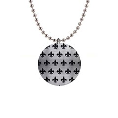 Royal1 Black Marble & Silver Brushed Metal 1  Button Necklace by trendistuff