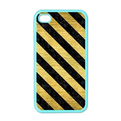 Stripes3 Black Marble & Gold Brushed Metal (r) Apple Iphone 4 Case (color) by trendistuff