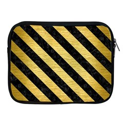 Stripes3 Black Marble & Gold Brushed Metal (r) Apple Ipad Zipper Case by trendistuff