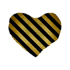 Stripes3 Black Marble & Gold Brushed Metal (r) Standard 16  Premium Flano Heart Shape Cushion  by trendistuff