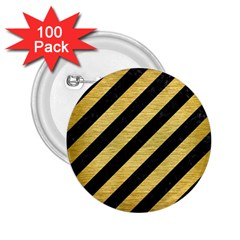 Stripes3 Black Marble & Gold Brushed Metal 2 25  Button (100 Pack) by trendistuff