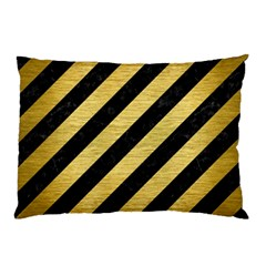 Stripes3 Black Marble & Gold Brushed Metal Pillow Case by trendistuff