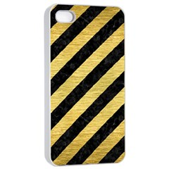 Stripes3 Black Marble & Gold Brushed Metal Apple Iphone 4/4s Seamless Case (white) by trendistuff