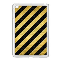 Stripes3 Black Marble & Gold Brushed Metal Apple Ipad Mini Case (white) by trendistuff