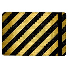 Stripes3 Black Marble & Gold Brushed Metal Apple Ipad Air Flip Case by trendistuff