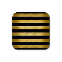 Stripes2 Black Marble & Gold Brushed Metal Rubber Square Coaster (4 Pack) by trendistuff