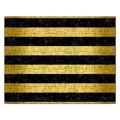 Stripes2 Black Marble & Gold Brushed Metal Jigsaw Puzzle (rectangular) by trendistuff