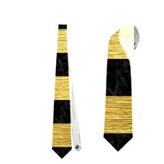 Stripes2 Black Marble & Gold Brushed Metal Necktie (two Side)