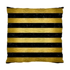 Stripes2 Black Marble & Gold Brushed Metal Standard Cushion Case (one Side) by trendistuff