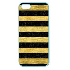 Stripes2 Black Marble & Gold Brushed Metal Apple Seamless Iphone 5 Case (color) by trendistuff