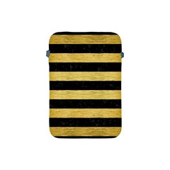 Stripes2 Black Marble & Gold Brushed Metal Apple Ipad Mini Protective Soft Case by trendistuff