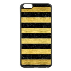 Stripes2 Black Marble & Gold Brushed Metal Apple Iphone 6 Plus/6s Plus Black Enamel Case by trendistuff