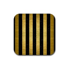 Stripes1 Black Marble & Gold Brushed Metal Rubber Square Coaster (4 Pack) by trendistuff